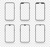 Different notch smartphone display mockup set vector illustration