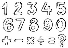 Different numerical figures. Illustration of the different numerical figures on a white background Stock Photography