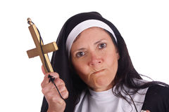 Different nun. With funny expression Royalty Free Stock Photo