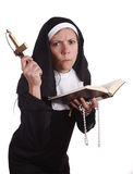 Different nun. With a serious and funny expression Stock Photo