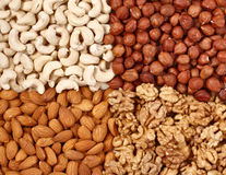 Different  nuts close up Royalty Free Stock Images