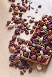 Different nuts,dry fruits and berries stock image