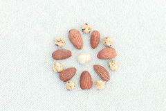 different nuts laid out in the shape of a flower on light backgr Royalty Free Stock Images