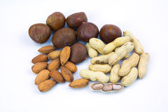 Different nuts mix. On white background Royalty Free Stock Photo