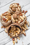 Different nuts in a plate closeup Royalty Free Stock Photography