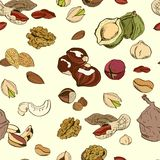 Different nuts seamless pattern. Colored hand drawn illustration Stock Images