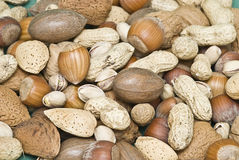 Different nuts textures. Royalty Free Stock Images