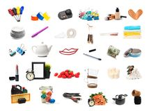Different objects set isolated on white background. Image stock images