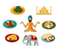Different objects of traditional indian culture. Vector illustrations set. Indian travel and tourism, architecture and elephant, taj mahal and food Stock Images