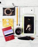 Different objects for traveling on wood Stock Photos