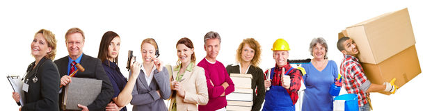 Different occupations in a group. Many different occupations in a happy group team royalty free stock photo