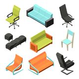 Different office chairs. Isometric illustrations royalty free illustration