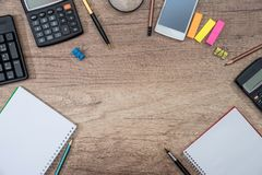 Different office objects on a table. Place for text Royalty Free Stock Photos