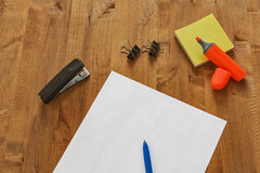 Different office supplies are on the table. On the table are different office supplies royalty free stock images