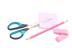 Different office supplies. On white stock images