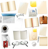 Different office supplies on white background. Illustration Stock Image