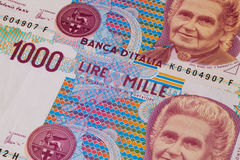 Different old banknotes from Italy  on the desk Royalty Free Stock Photography