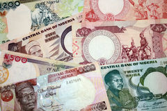 Different old bills Nigeria. Stock Photos