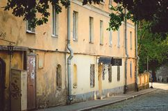 Different old buildings in Old Town. The old architecture of Vyborg. VYBORG, RUSSIA - July 12, 2018: Different old buildings in Old Town. The old architecture of royalty free stock photography