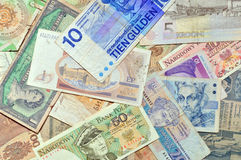 Different old currency banknotes. Money background Royalty Free Stock Image