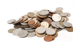 Different old european coins on white Royalty Free Stock Photo