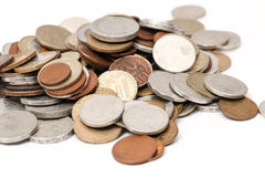 Different old european coins on white Royalty Free Stock Photography
