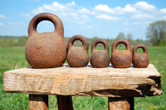 Different old-fashioned weights unit Royalty Free Stock Photography