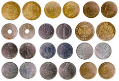 Different old french coins Royalty Free Stock Photography