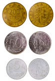Different old italian coins Royalty Free Stock Images