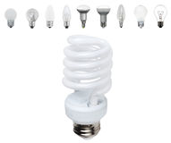 Different old types of bulbs and modern light-bulb Stock Image