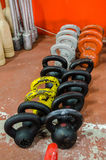 Different old weight kettlebells at the gym Royalty Free Stock Photography