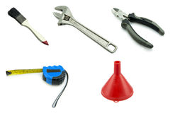 Different old work tools isolated on a white background. Royalty Free Stock Photography