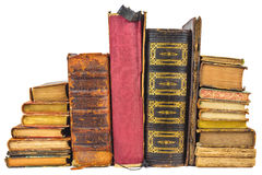 Different old worn books isolated on white Stock Photography