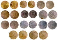 Different old yugoslavian coins. Isolated on white background Royalty Free Stock Photo