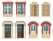 Different opened and closed doors royalty free illustration