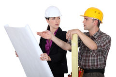 Different opinions. Between builder and architect Stock Images