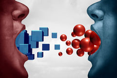 Different Opinions. And disagreement concept as two people expressing opposite ideas as cubes versus sphere with 3D illustration elements Stock Images