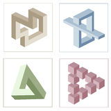 Different optical illusions of impossible objects Royalty Free Stock Photo