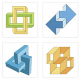 Different optical illusions of impossible objects Royalty Free Stock Images
