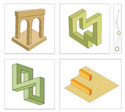 Different optical illusions of impossible objects royalty free illustration
