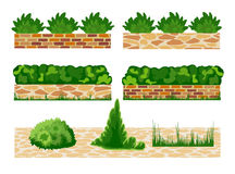 Different options of masonry and garden plants. Stock Photos