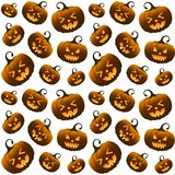 Different Orange Halloween Pumpkins Seamless Pattern Stock Photos
