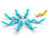 Different Orange Leader Arrow Out From Blue Group. Success Conce Royalty Free Stock Photography