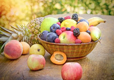 Different organic fruits in the diet contributes to your health Royalty Free Stock Image