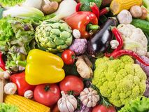 Different organic vegetables. Multicolored food background. stock image