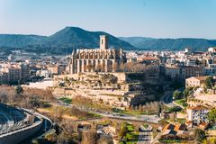 Different and original view of Collegiate Basilica of Santa Maria Seu in Manresa city in catalunya region in Spain, with landscape. Landscape of manresa from top royalty free stock photos