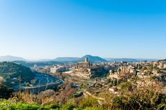 Different and original view of Manresa city in catalunya region in Spain, with landscape of all the city. Landscape of manresa from top of hill stock photography