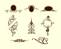 Different ornamental elements. Vector set Stock Image