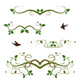 Different ornamental green swirls Stock Image