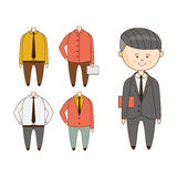 Different Outfits For Character Construction stock illustration
